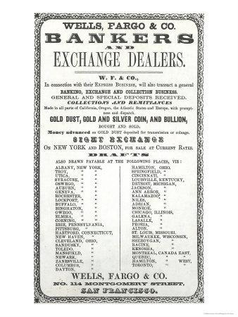 Advertisement For Wells, Fargo and Co. Bankers and Exchange Dealers, 1856