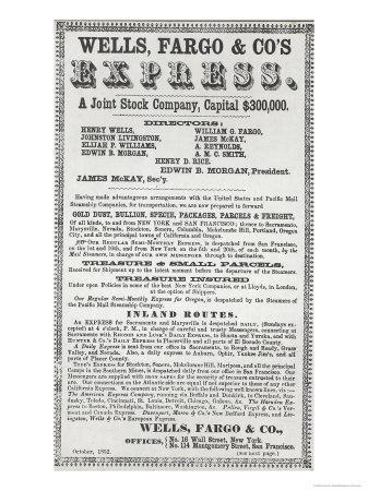 Advertisement For Wells, Fargo and Co. Express, 1852