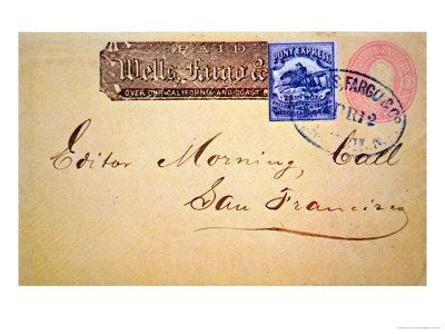 Envelope with Wells Fargo Pony Express Stamp Attached