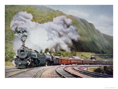 The New York to Chicago Express at the Horse-Shoe Curve, Alleghany, c.1930