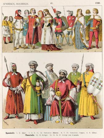 Spanish and Moorish Dress, c.1300, from Trachten Der Voelker, 1864