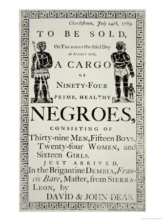 Slave Sale Notice, Published in Charleston, South Carolina, 24th July 1769