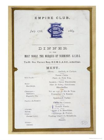 Menu from the Empire Club, 17th March 1884