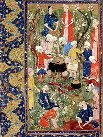 Preparing a Meal, Illustration from an Epic Poem by Hafiz Shirazi, Safavid