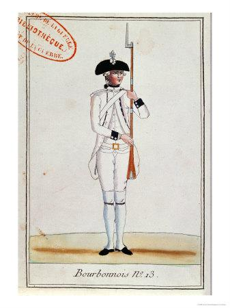 Soldier of the Regiment de Bourbonnois, c.1780