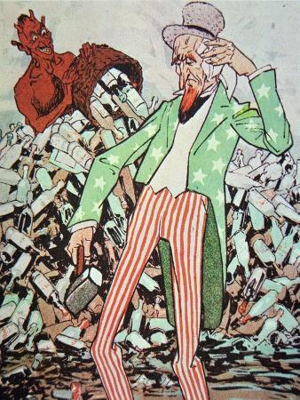 Uncle Sam Exhausted by the Flow of Bootleg Produced by the Devil, During the Prohibition Era
