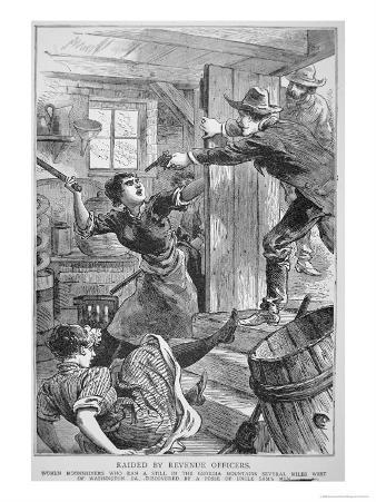 Revenue Officers Raid Illegal Liquor Still in the Georgia Mountains, the 'Police Gazette', 1895