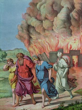 Lot's Wife Looks Back at Sodom and is Changed Into a Pillar of Salt, Illustration For a Catechism
