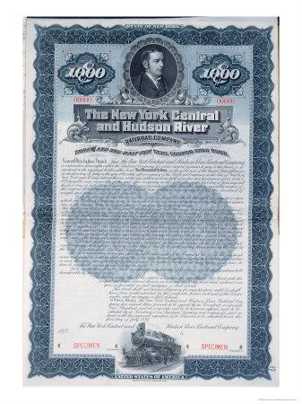 Specimen Bond Certificate For $1000, New York Central and Hudson River Railroad Company, c.1900