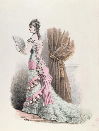 Fashion Plate of a Woman in Evening Dress and with a Fan, 1877