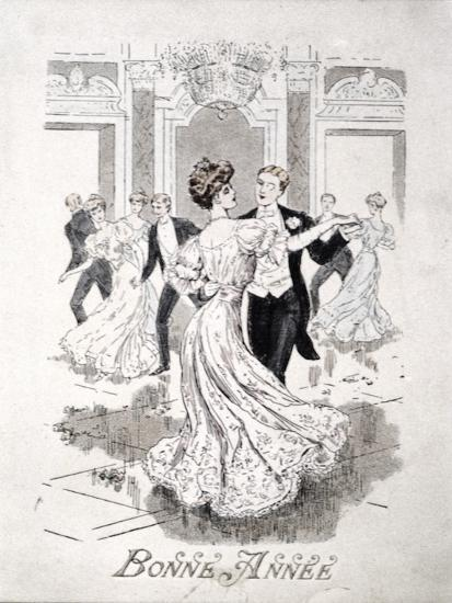 the waltz french new year card late 19th century