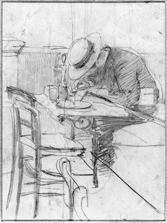 Paul Cesar Helleu at a Table in a Cafe
