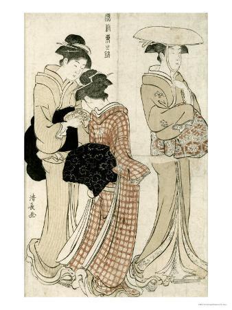 Young Woman Wearing a Wide Straw Hat, Companion Carrying a Furoshiki, Fuzoku Azuma No Nishiki