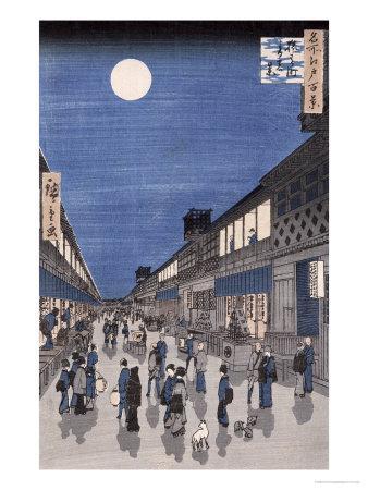 Night Time View of Saruwaka Street, from Meisho Edo Hyakkei