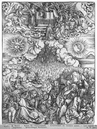 Scene from the Apocalypse, the Opening of the Fifth and Sixth Seals, Latin Edition, 1511