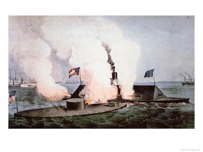 USS Monitor Fighting the CSS Merrimack, Battle of Hampton Broads, American Civil War, c.1862