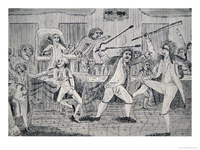 Cartoon: The Fight on the Floor of Congress Between Matthew Lyon and Roger Griswold, 1798