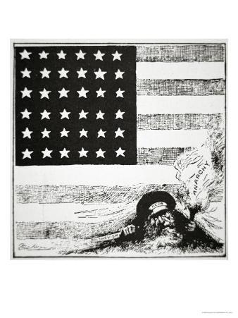 Cartoon Depicting Communism and Anarchy Creeping under the American Flag, 1919