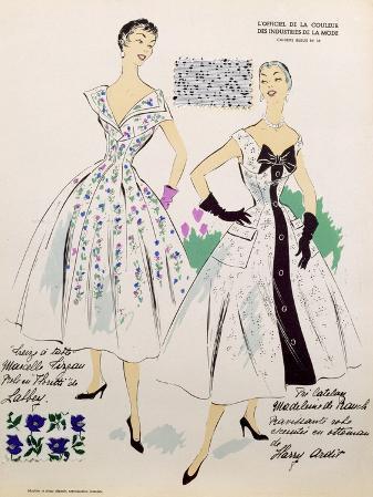 Sketches and Fabric Swatches, from L'Oficiel de La Couleur Des Industries de La Mode