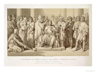 Coronation of Harold, King of the Anglo-Saxons, Engraved by W. Ridgeway