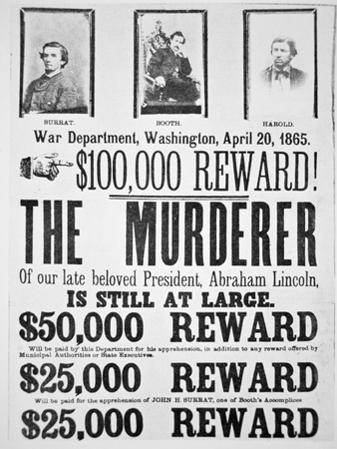 Washington War Department Poster Announcing a $100,000 Reward For Finding the Murderer of Lincoln