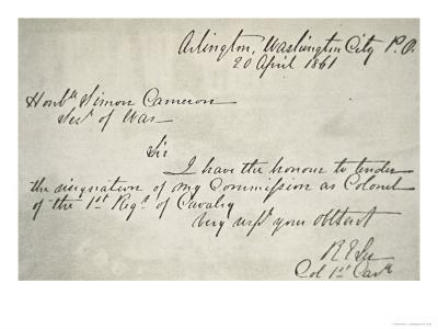 Robert E. Lee's Letter of Resignation from the Federal Army, 20th April, 1861