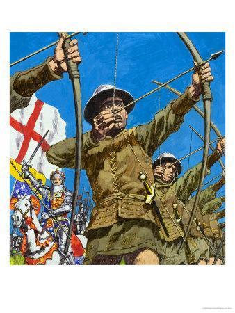 English Bowmen at Agincourt, 25th October 1415