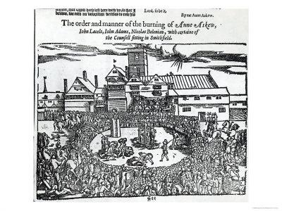 Martyrdom: Anne Askew, John Lacels, Adams and Nicolas Belenian, Smithfield, Acts and Monuments Foxe