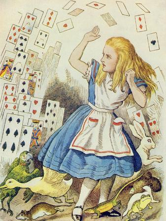 The Shower of Cards, Illustration from Alice in Wonderland by Lewis Carroll