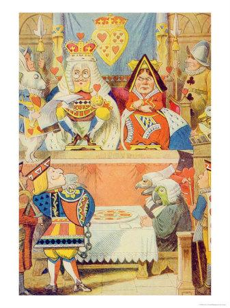 The Trial of the Knave of Hearts, Illustration from Alice in Wonderland by Lewis Carroll