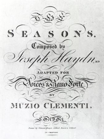 Cover of the Score Sheet of Seasons by Joseph Haydn