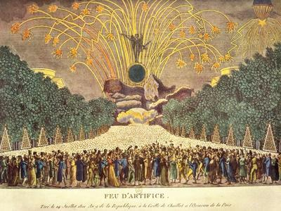 Firework Display at the Grille de Chaillot in Paris to Celebrate Peace, 14th July 1801