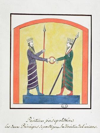 Ahura Mazda and Angra Mainyu Dispute the World, Copy of a Frieze from Persepolis
