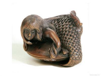 Netsuke Carved in the Shape of a Mermaid