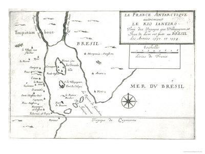 The Rio Ianeiro, from the Travels of Villegagnon and Jean Le Leri in Brazil 1557-1558