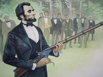 President Abraham Lincoln Test-Fires the Spencer Seven-Shot Repeater Rifle in August 1863
