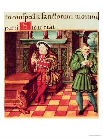 Henry VIII Playing a Harp with His Fool Wil Somers, from the King's Psalter