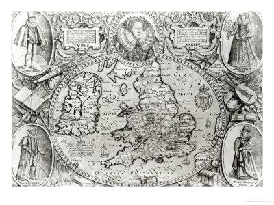 Map of England During the Reign of Queen Elizabeth I, 1590