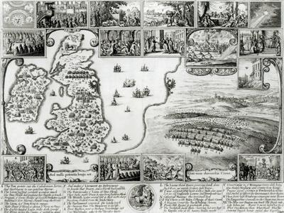 Map of Civil War England and a View of Prague, 1632