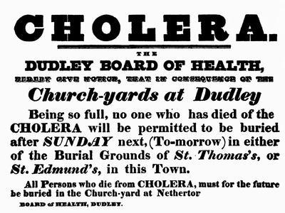 Dudley Board of Health Poster, the Burial Procedure For People Who Have Died of Cholera, c.1840