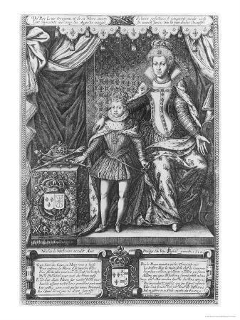 Queen Marie de Medicis and Louis XIII as a Child, Engraved by Nicolas de Mathoniere