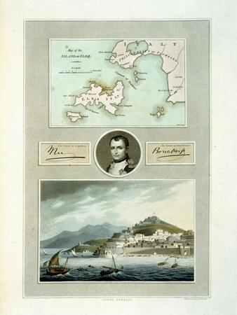 Map of Elba, View of Porto Ferraio with Portrait of Napoleon and Signature, c.1815