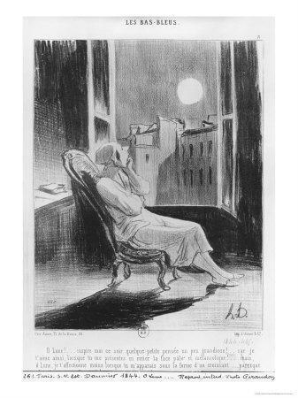 Series Les Bas-Bleus, O Moon!, Plate VIII, Le Charivari, 28 February 1844