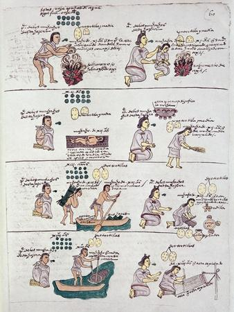 Page from the Codex Mendoza, Showing Discipline and Chores Assigned to Children, Mexico, c.1541-42