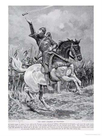The First Charge at Hastings, 1066, Illustration from the Book The History of the Nation