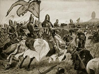 The Battle of Crecy, 26th August 1346, Illustration from The History of the Nation