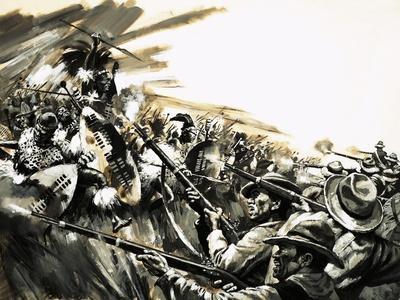 Unidentified Battle with Zulu Warriors, Possibly Roarke's Drift