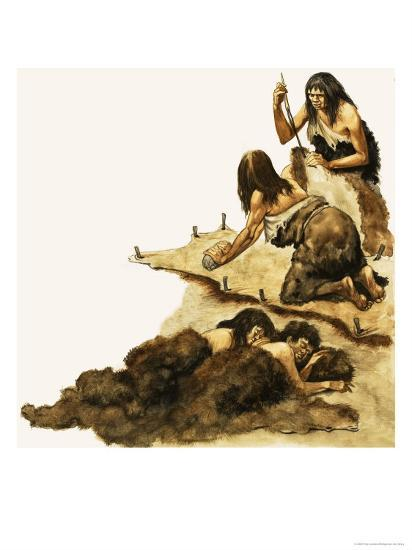 Stone Age Family Scrape Skins to Make Clothing