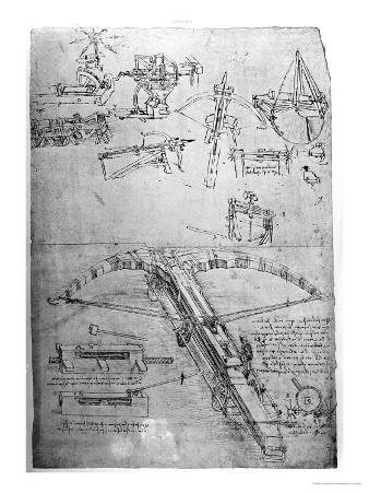 Weapon Designs, Including For a Giant Crossbow, Codex Atlanticus, 1478-1518