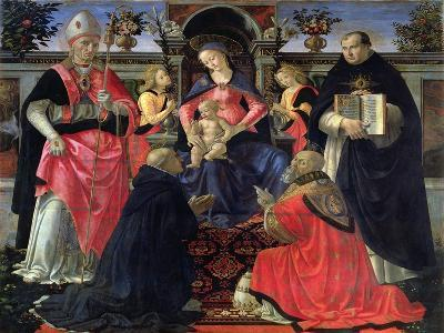 Madonna and Child Enthroned with St. Dionysius, Aeropagita, Domenic, Clement and Aquinas, c.1483